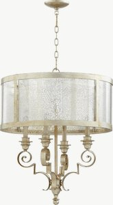 Quorum Lighting-6081-4-60-Champlain - Four Light Chandelier  Aged Silver Leaf Finish with Vintage Champagne Glass