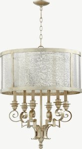 Quorum Lighting-6081-6-60-Champlain - Six Light Chandelier  Aged Silver Leaf Finish with Vintage Champagne Glass