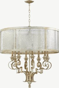 Quorum Lighting-6081-8-60-Champlain - 30.5 Inch Eight Light Chandelier  Aged Silver Leaf Finish with Vintage Champagne Glass