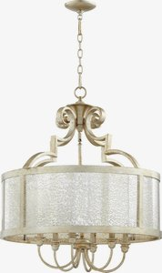 Quorum Lighting-6481-6-60-Champlain - Six Light Pendant  Aged Silver Leaf Finish with Vintage Champagne Glass