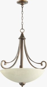 Quorum Lighting-8131-4-86-Lariat - Four Light Pendant  Oiled Bronze Finish with Amber Scavo Glass
