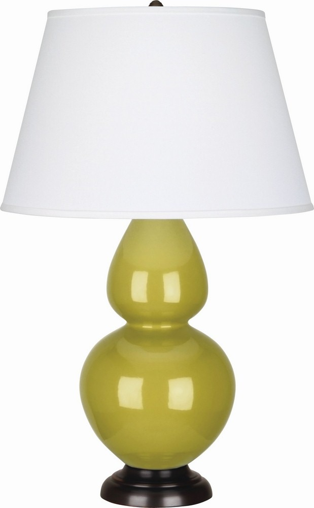 Robert Abbey Lighting-CI21X-Double Gourd - One Light Table Lamp  Citron Glazed/Deep Patina Bronze Finish with Pearl Dupioni Fabric Shade