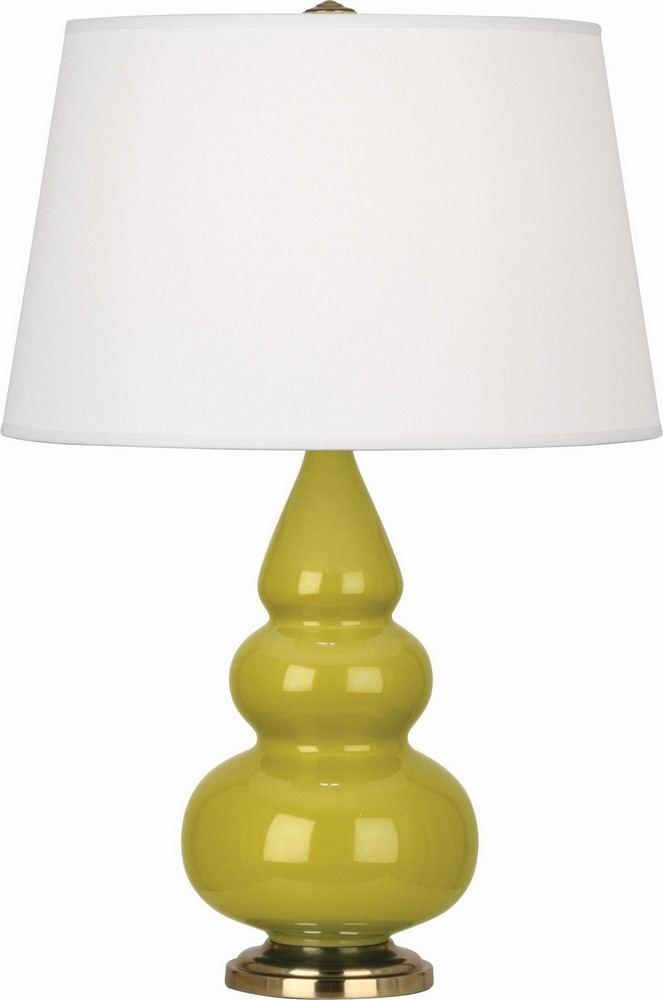 Robert Abbey Lighting-CI30X-Triple Gourd - One Light Small Table Lamp  Citron Glazed/Antique Brass Finish with Pearl Dupioni Fabric Shade