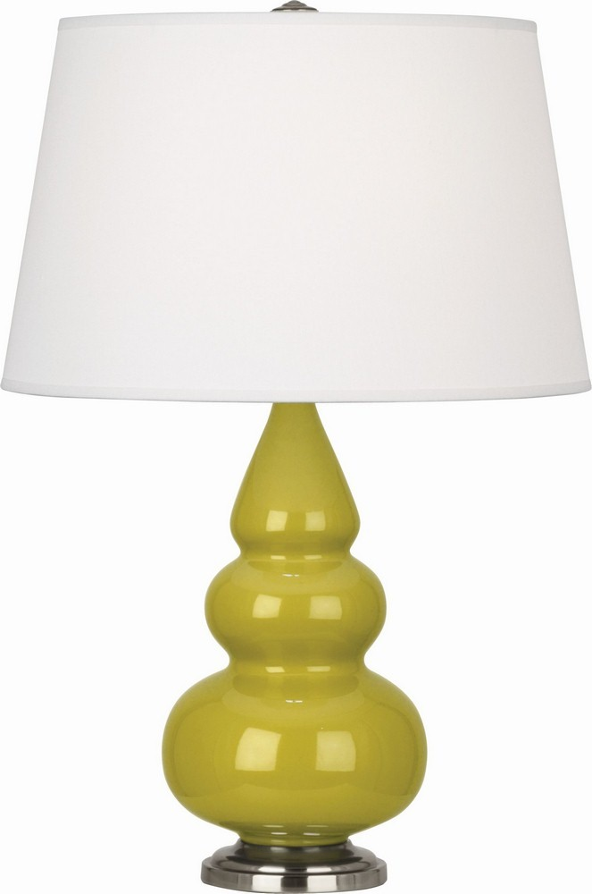 Robert Abbey Lighting-CI32X-Triple Gourd - One Light Small Table Lamp  Citron Glazed/Antique Silver Finish with Pearl Dupioni Fabric Shade