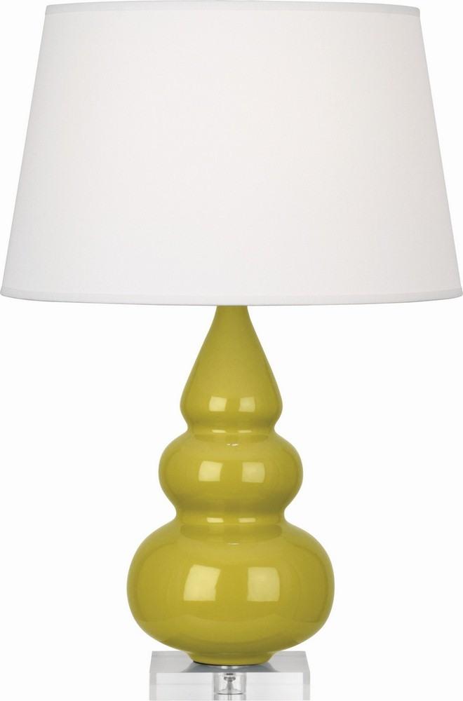 Robert Abbey Lighting-CI33X-Triple Gourd - One Light Small Table Lamp  Citron Glazed/Acrylic Finish with Pearl Dupioni Fabric Shade