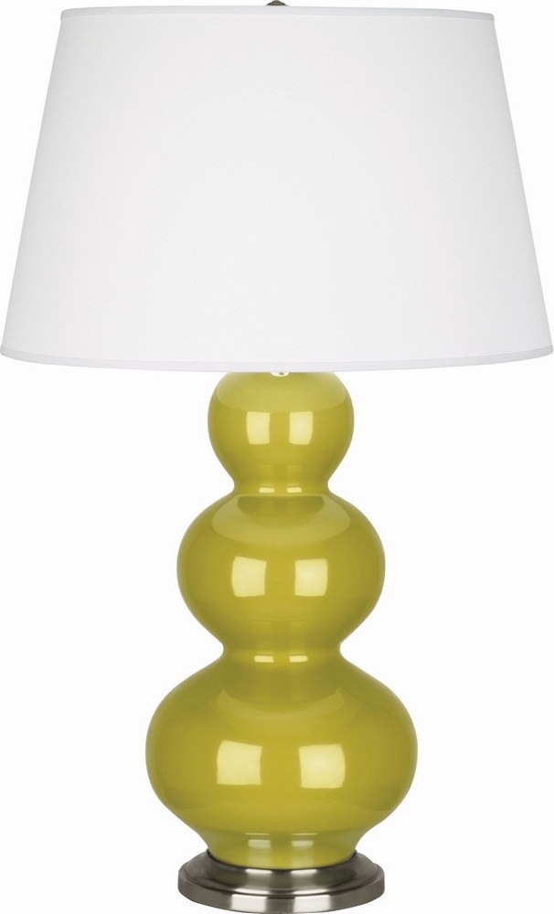 Robert Abbey Lighting-CI42X-Triple Gourd - One Light Table Lamp  Citron Glazed/Antique Silver Finish with Pearl Dupioni Fabric Shade