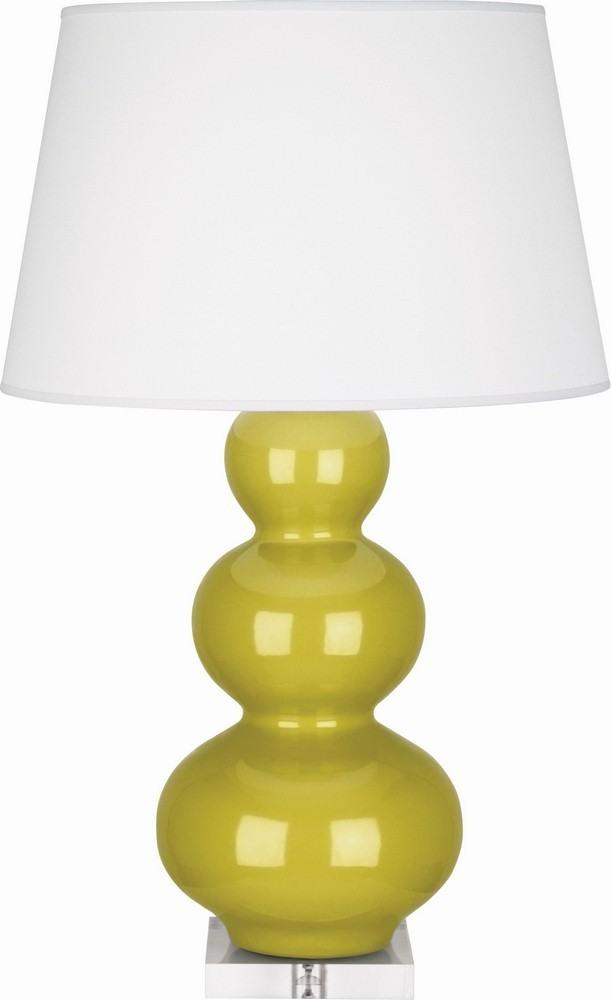 Robert Abbey Lighting-CI43X-Triple Gourd - One Light Table Lamp  Citron Glazed/Acrylic Finish with Pearl Dupioni Fabric Shade