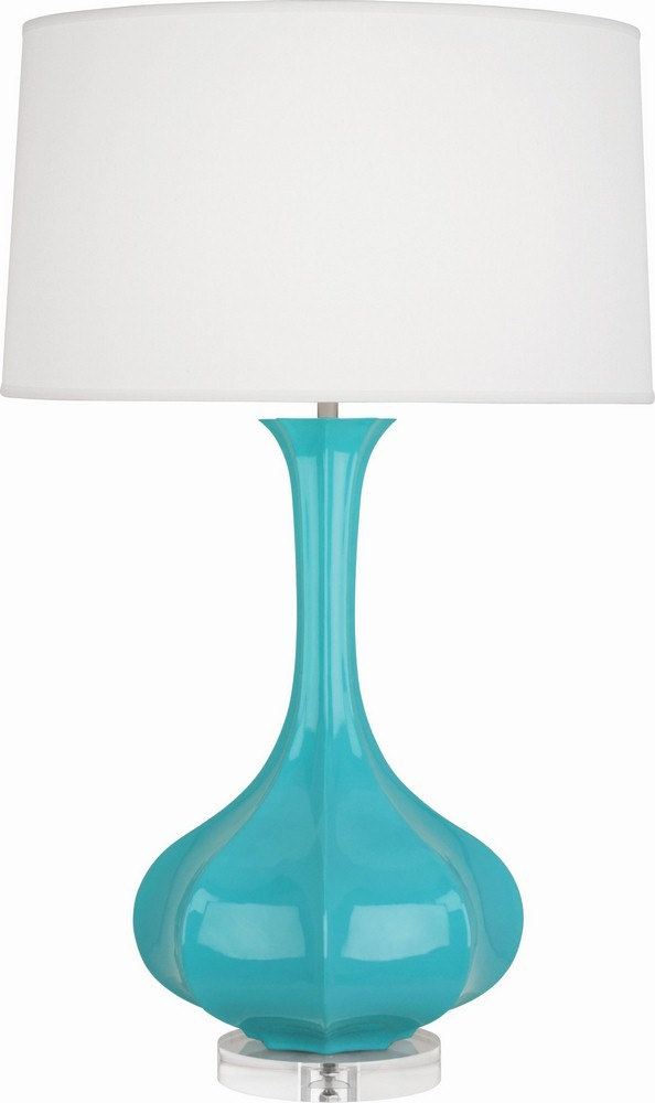 Robert Abbey Lighting-EB994-Pike - One Light Table Lamp  Egg Blue/Aged Brass Finish with Off White Shade
