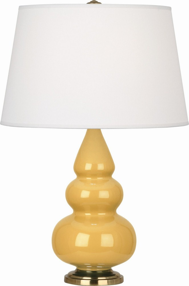 Robert Abbey Lighting-SU30X-Triple Gourd - One Light Small Table Lamp  Sunset Glazed/Antique Brass Finish with Pearl Dupioni Fabric Shade