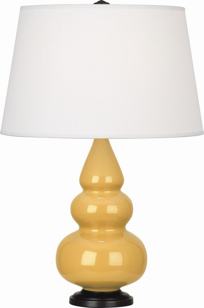 Robert Abbey Lighting-SU31X-Triple Gourd - One Light Small Table Lamp  Sunset Glazed/Deep Patina Bronze Finish with Pearl Dupioni Fabric Shade