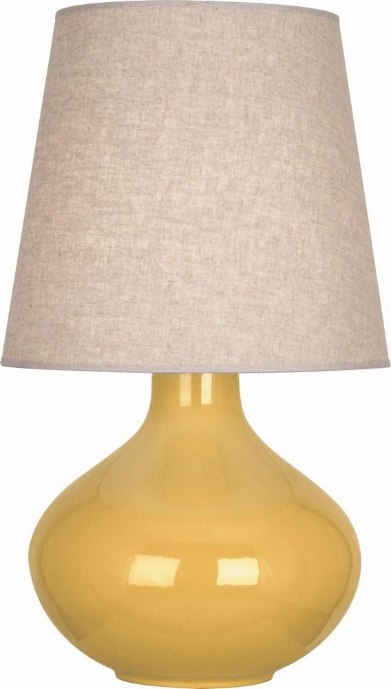 Robert Abbey Lighting-SU991-June - One Light Table Lamp  Sunset Glazed Finish with Buff Linen Shade