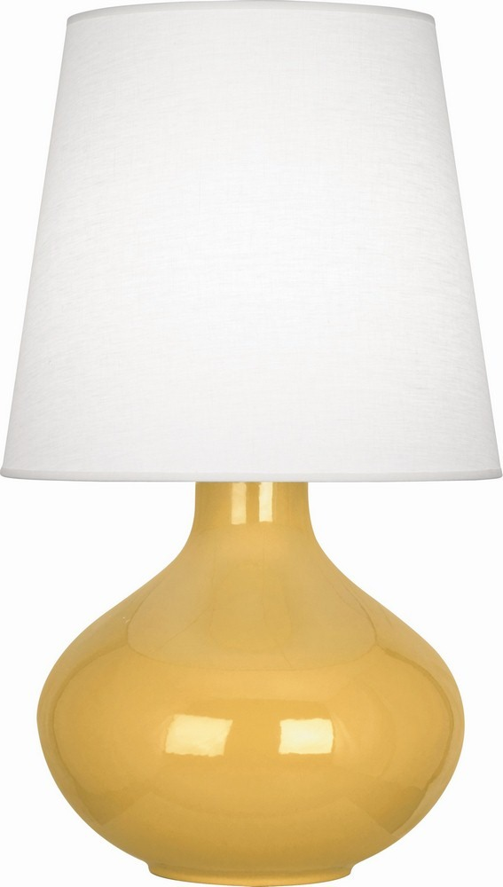 Robert Abbey Lighting-SU993-June - One Light Table Lamp  Sunset Glazed Finish with Oyster Linen Shade