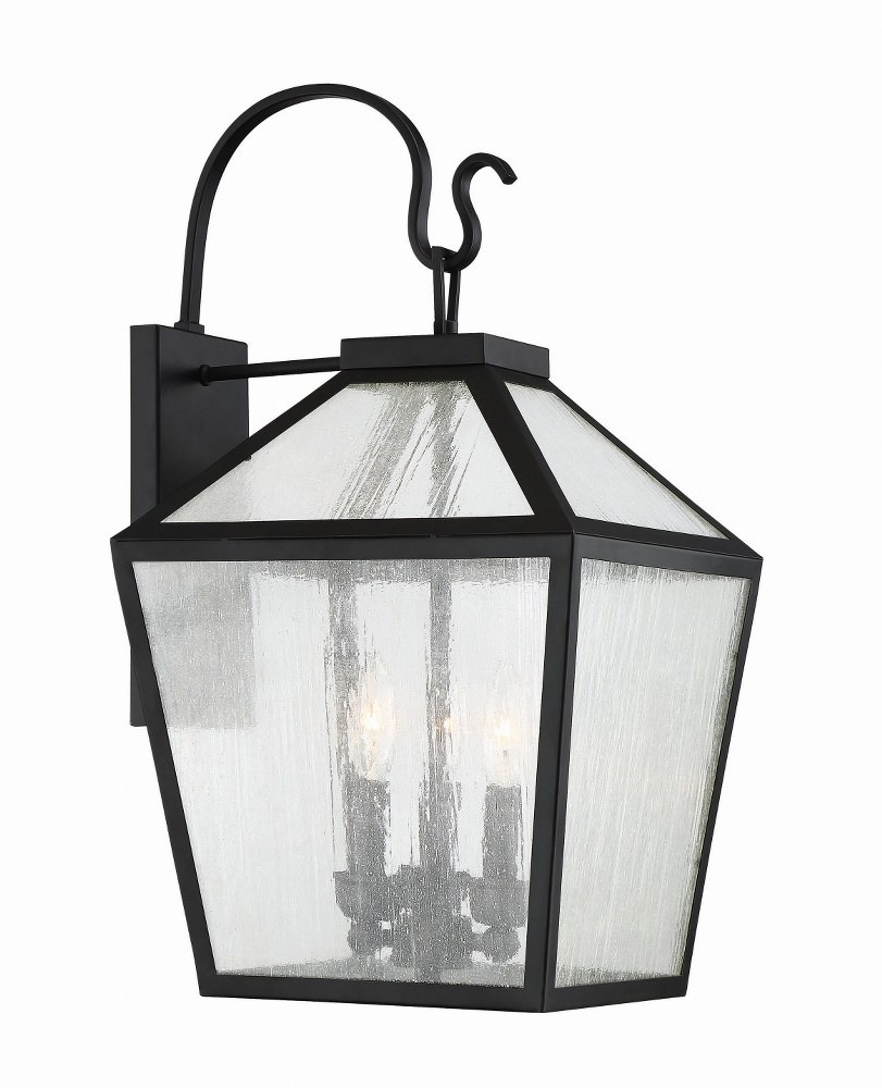 Savoy House-5-101-BK-Woodstock - 3 Light Outdoor Wall Lantern  Black Finish with Clear Seeded Glass