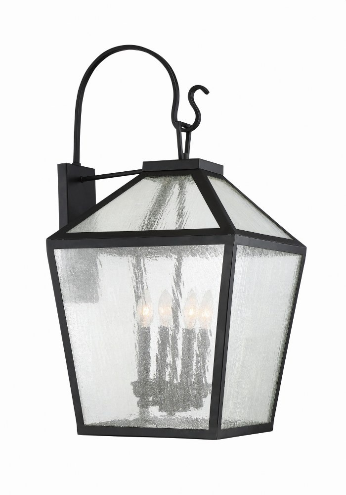 Savoy House-5-102-BK-Woodstock - 4 Light Outdoor Wall Lantern  Black Finish with Clear Seeded Glass
