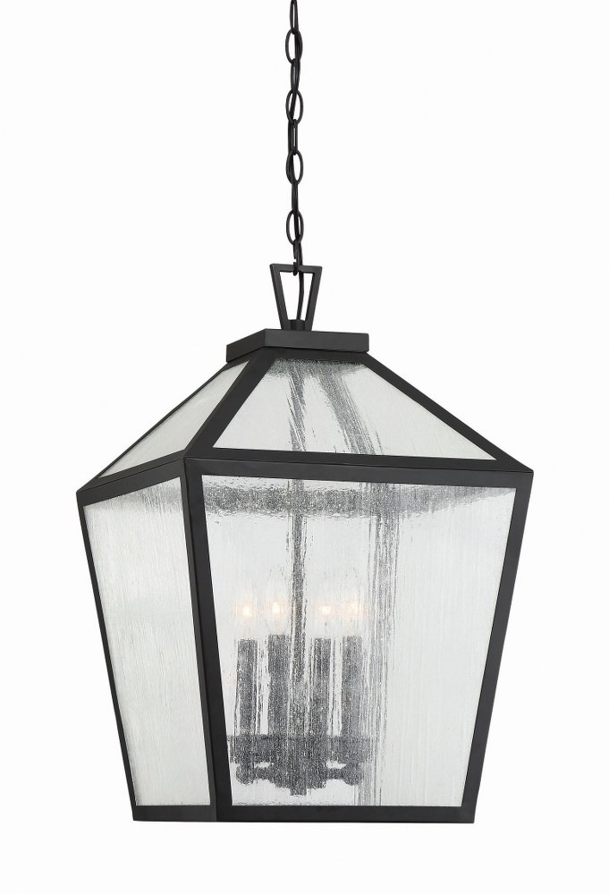 Savoy House-5-104-BK-Woodstock - 4 Light Outdoor Hanging Lantern  Black Finish with Clear Seeded Glass