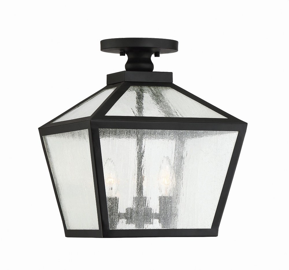 Savoy House-5-105-BK-Woodstock - 3 Light Outdoor Flush Mount  Black Finish with Clear Seeded Glass