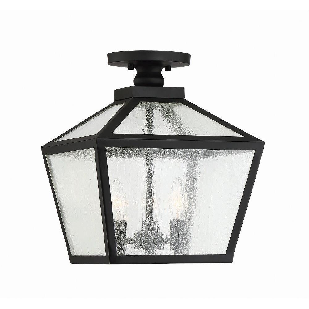 Woodstock Three Light Outdoor Flush Mount Lantern