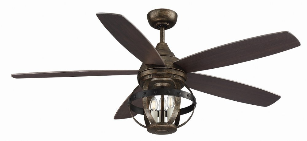 Savoy House-52-840-5CN-196-Alsace - 52 Inch 5 Blade Ceiling Fan with Light Kit  Reclaimed Wood Finish with Chestnut Blade Finish