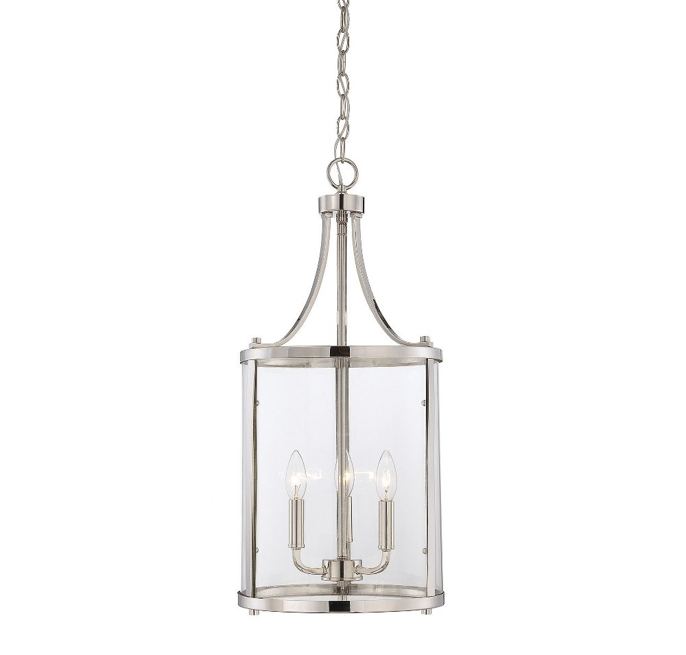 Savoy House-7-1040-3-109-Penrose - 3 Light Small Foyer  Polished Nickel Finish with Clear Glass