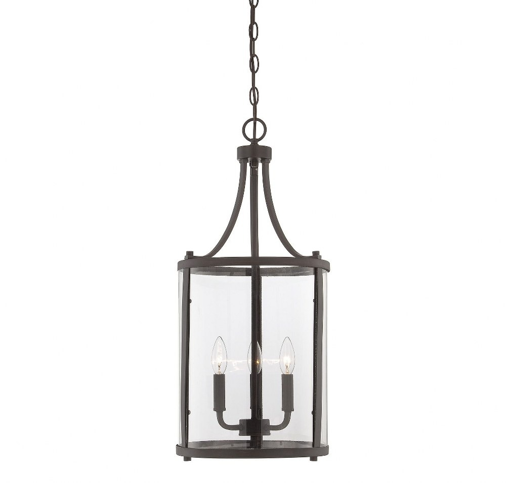 Savoy House-7-1040-3-13-Penrose - 3 Light Small Foyer  English Bronze Finish with Clear Glass