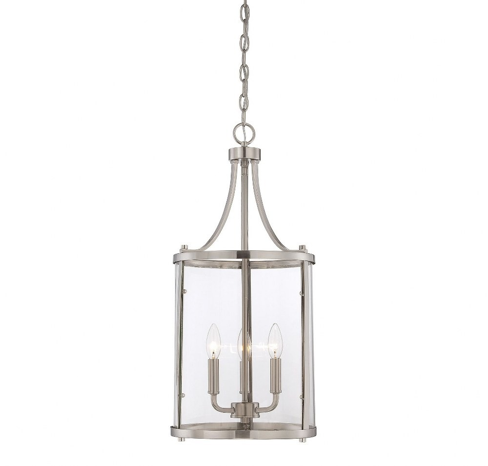 Savoy House-7-1040-3-SN-Penrose - 3 Light Small Foyer  Satin Nickel Finish with Clear Glass