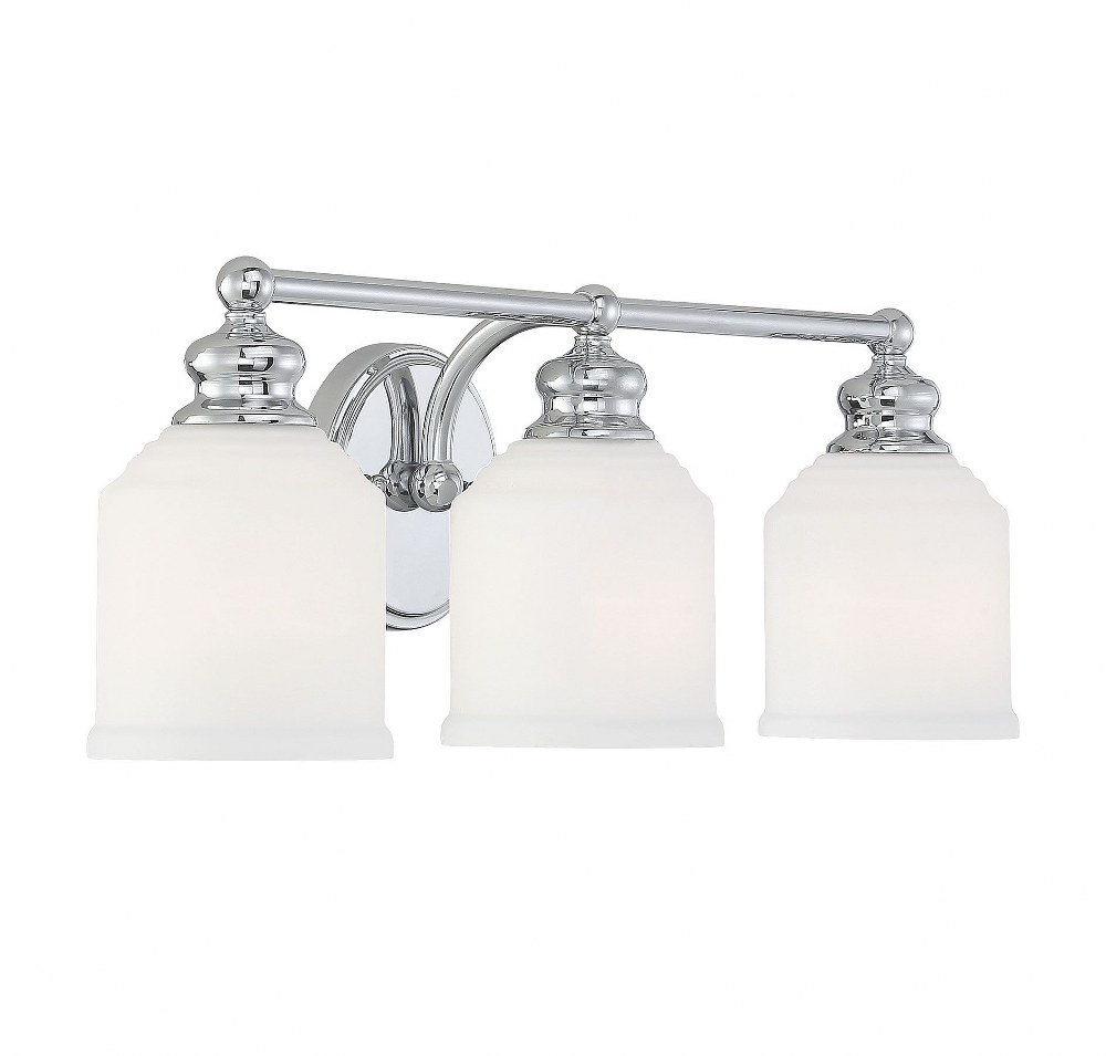 Savoy House-8-6836-3-11-Melrose - 3 Light Bath Bar  Polished Chrome Finish with White Opal Etched Glass
