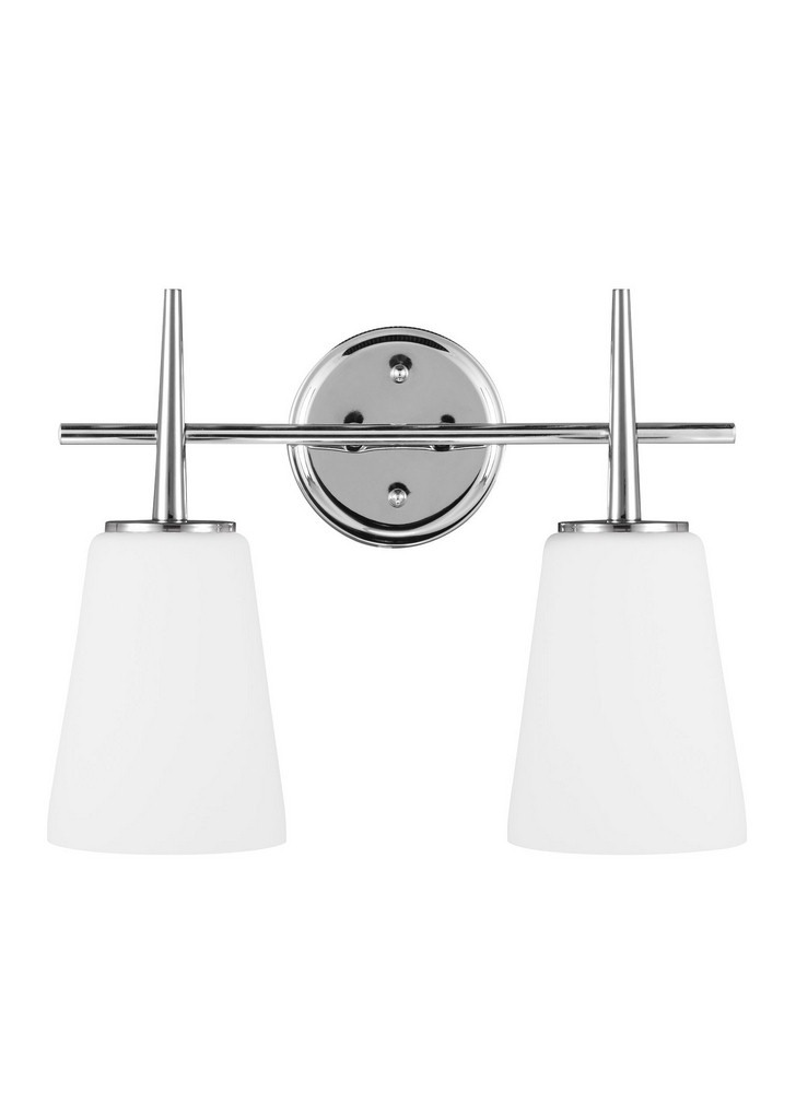 Sea Gull Lighting-4440402-05-Driscoll - Two Light Wall/Bath Bar  Chrome Finish with Etched/White Glass
