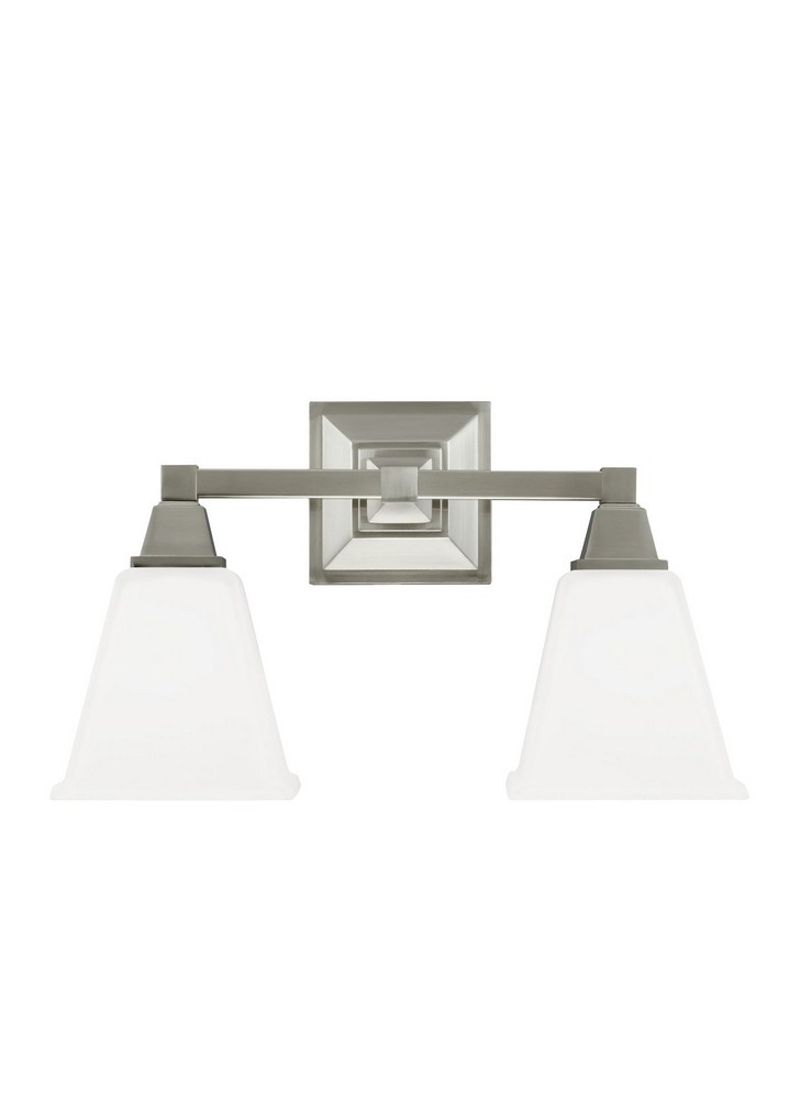 Sea Gull Lighting-4450402-962-Denhelm - Two Light Wall/Bath Bar  Brushed Nickel Finish with Etched/White Glass