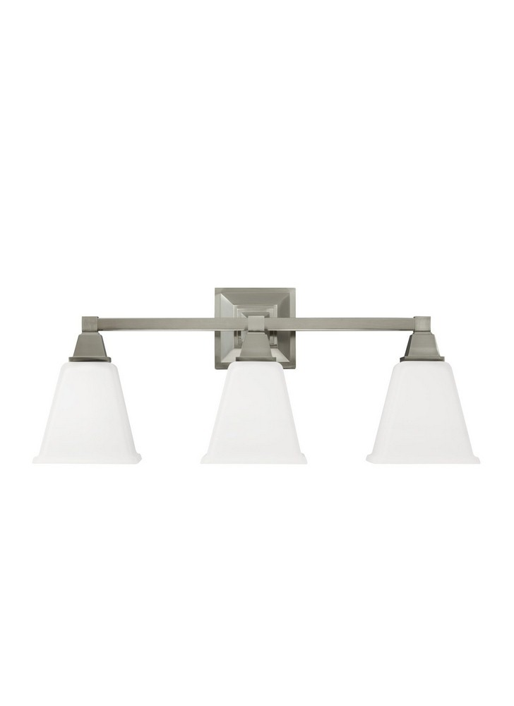Sea Gull Lighting-4450403-962-Denhelm - Three Light Wall/Bath Bar  Brushed Nickel Finish with Etched/White Glass