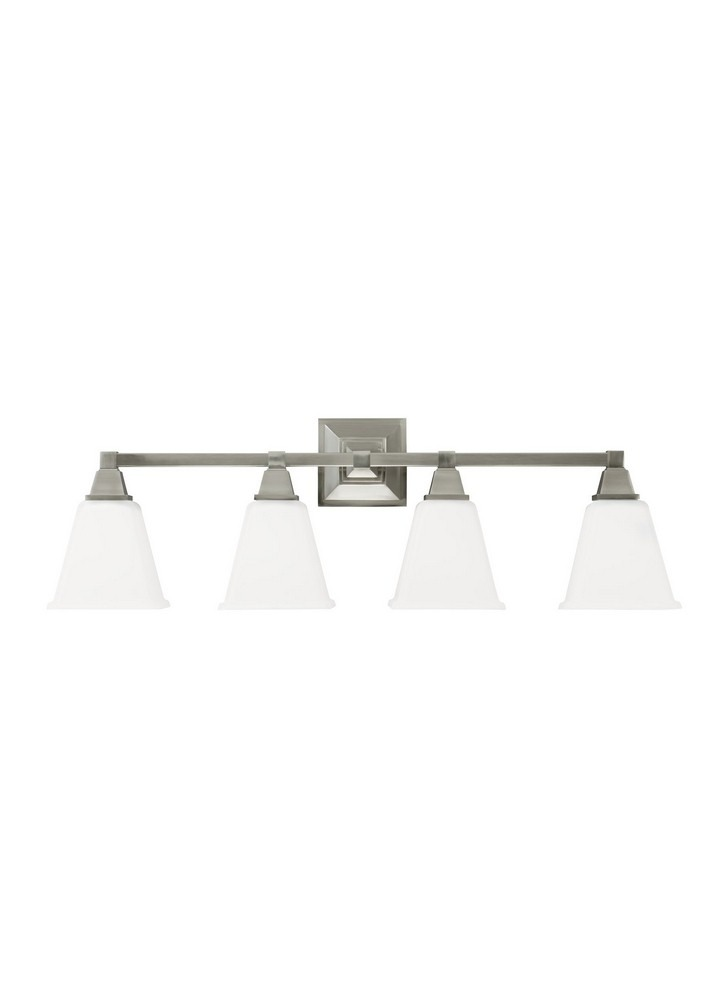 Sea Gull Lighting-4450404-962-Denhelm - Four Light Wall/Bath Bar  Brushed Nickel Finish with Etched/White Glass