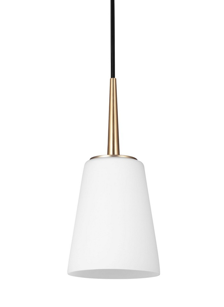 Sea Gull Lighting-6140401-848-Driscoll - One Light Mini-Pendant  Satin Bronze Finish with Etched/White Glass