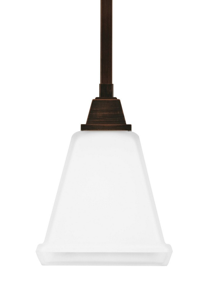 Sea Gull Lighting-6150401-710-Denhelm - One Light Mini-Pendant  Burnt Sienna Finish with Etched/White Glass