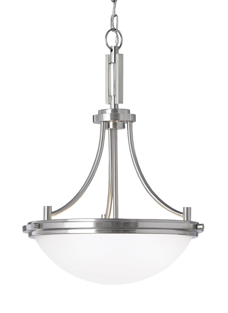 Sea Gull Lighting-65661-962-Winnetka - Three Light Pendant  Brushed Nickel Finish with Satin Etched Glass