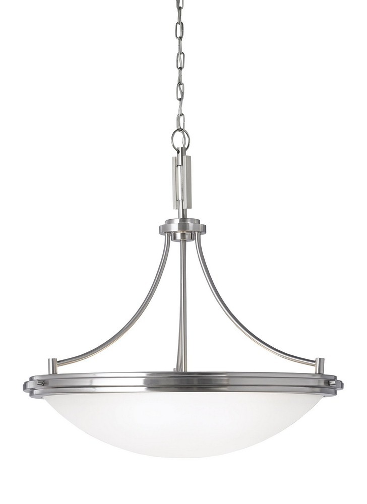 Sea Gull Lighting-65662-962-Winnetka - Four Light Pendant  Brushed Nickel Finish with Satin Etched Glass