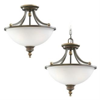Sea Gull Lighting 77350-708 Laurel Leaf - Three Light Convertible Semi-Flush Mount