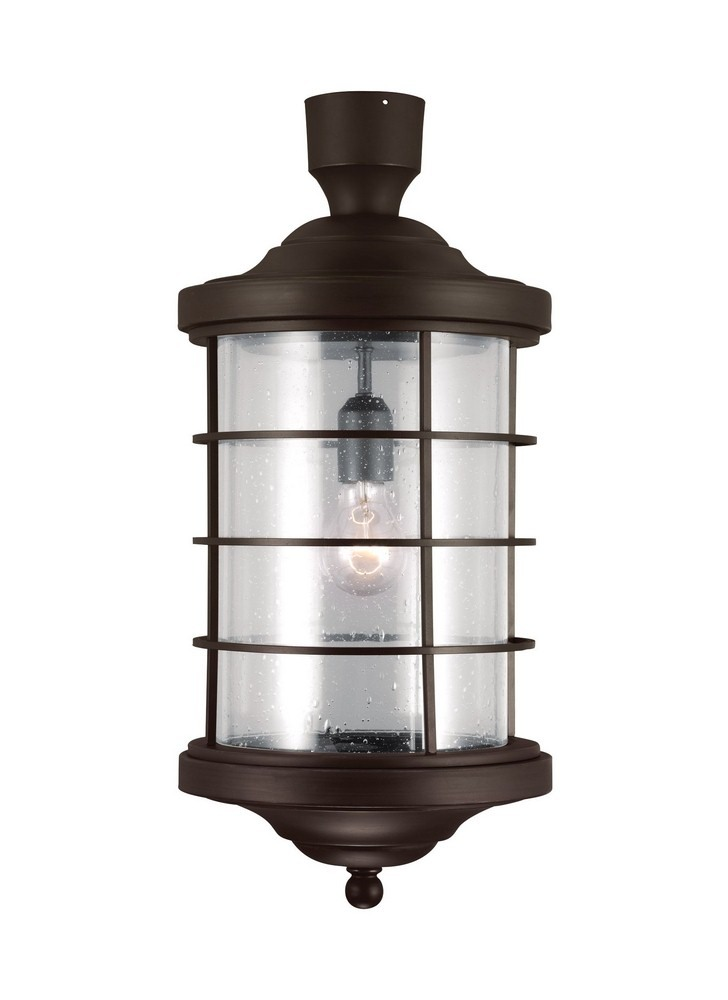 Sea Gull Lighting-8224401-71-Sauganash - One Light Outdoor Post Lantern  Antique Bronze Finish with Clear Seeded Glass
