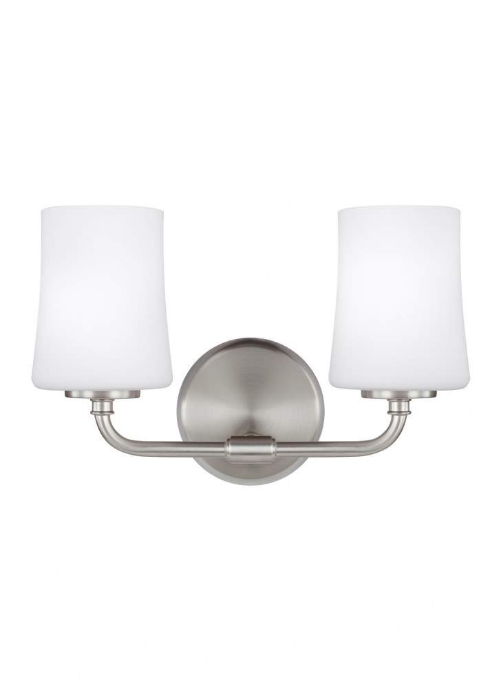 Sea Gull Lighting-VS23602SN-Jennie - Two Light Bath Vanity  Satin Nickel Finish with White Opal Etched Glass