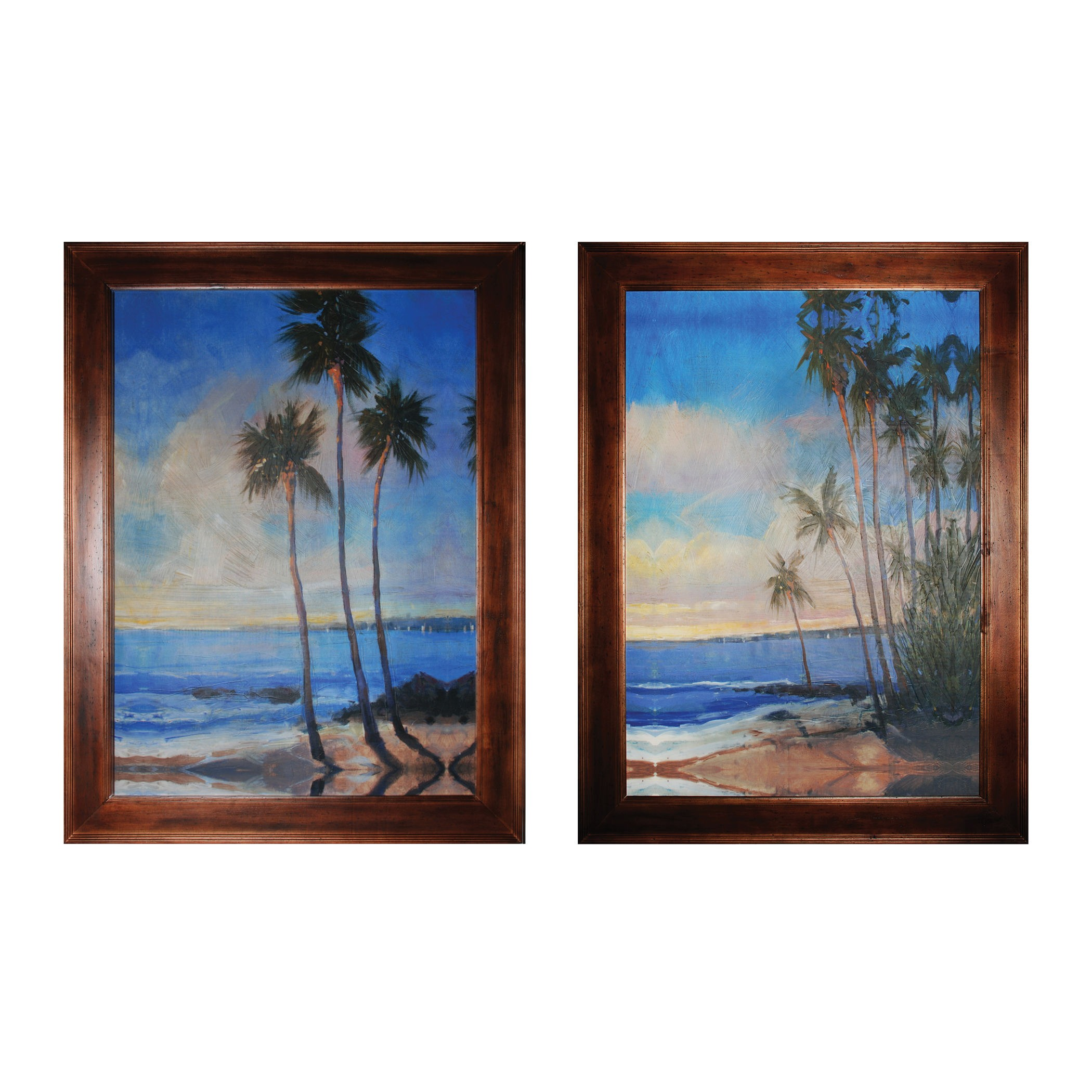 Sterling Industries-10215-S2-Embellished Tropical Breeze I And II - 48 Inch Wall Art  Brown Finish