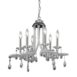Sterling Industries-144-029-Barley - Six Light Mini Chandelier  Chrome/White Finish