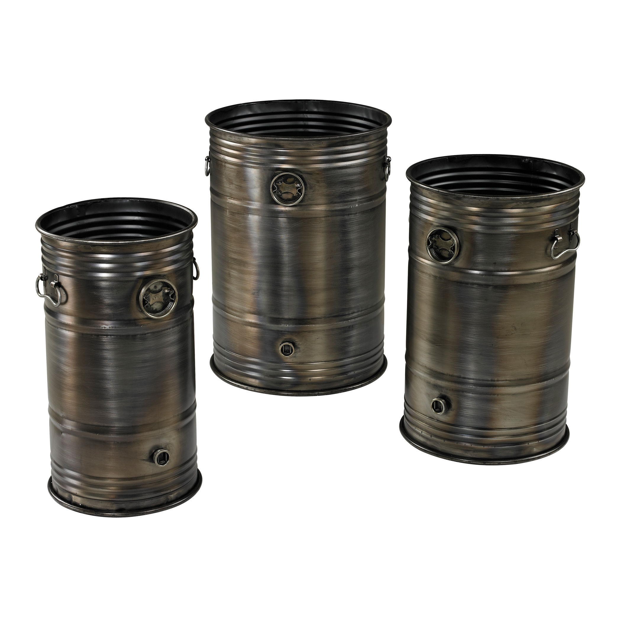Sterling Industries-26-8668/S3-20 Inch Industrial Oil Drum Planter (Set of 3)  Oxidised Metal Finish