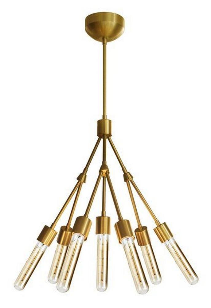 Stone Lighting-CH550BBRT4SA-Stilt - 28 Inch Seven Light Chandelier  Brushed Gold Finish