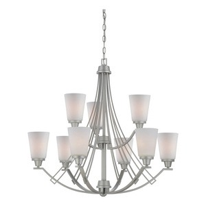 Thomas Lighting-TK0012117-Matte Nickel Finish with Etched White Glass