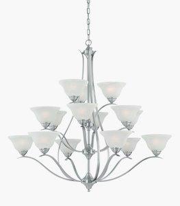 Thomas Lighting-TK0023217-Prestige - Fifteen Light Chandelier  Brushed Nickel Finish with Alabaster Glass