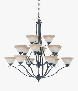 Thomas Lighting-TK0023722-Prestige - Fifteen Light Chandelier  Sable Bronze Finish with Cognac Edged Glass