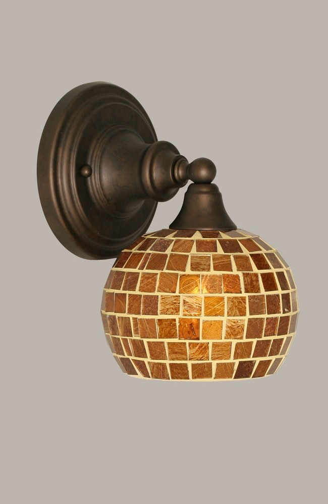 Toltec Lighting-40-BRZ-402-One Light Bronze Wall Sconce  Bronze Finish with Copper Mosaic Glass