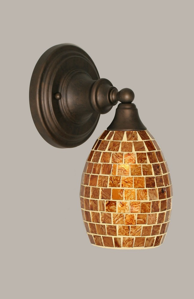 Toltec Lighting-40-BRZ-409-One Light Bronze Wall Sconce  Bronze Finish with Copper Mosaic Glass