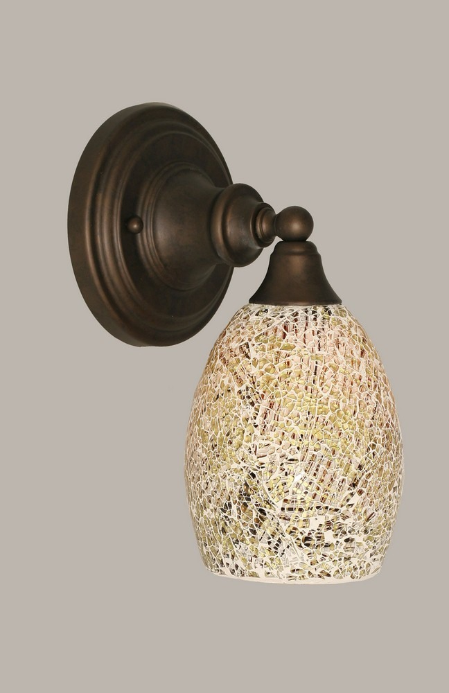 Toltec Lighting-40-BRZ-5054-One Light Bronze Wall Sconce  Bronze Finish with Natural Fusion Glass