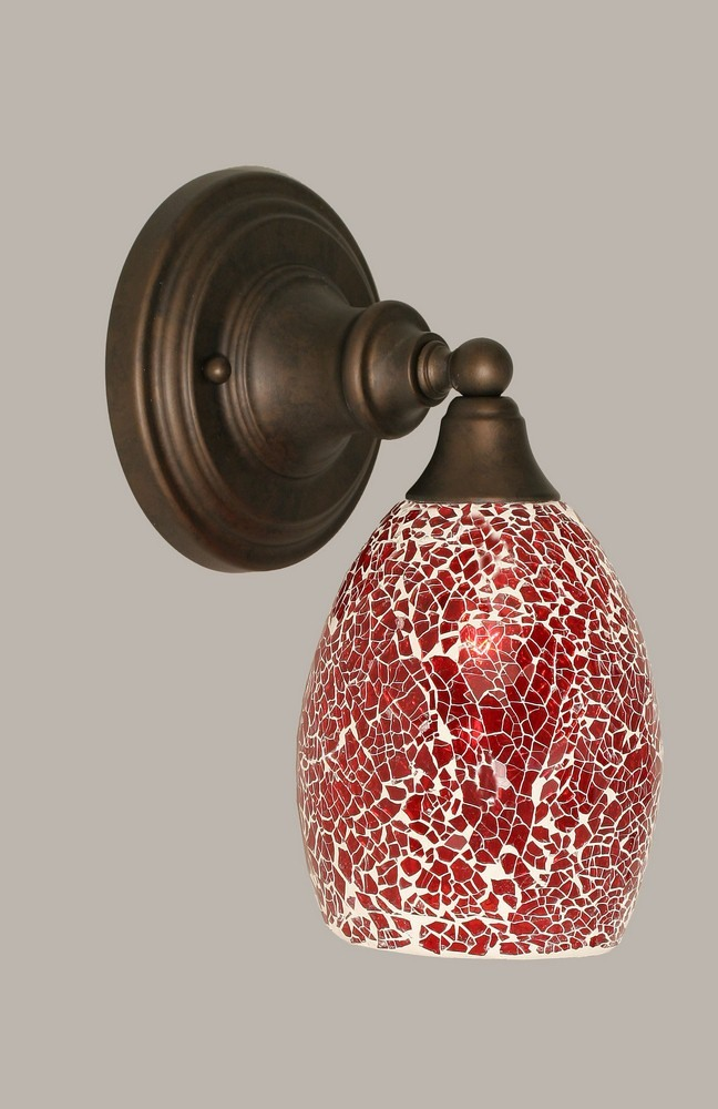 Toltec Lighting-40-BRZ-5056-One Light Bronze Wall Sconce  Bronze Finish with Red Fusion Glass