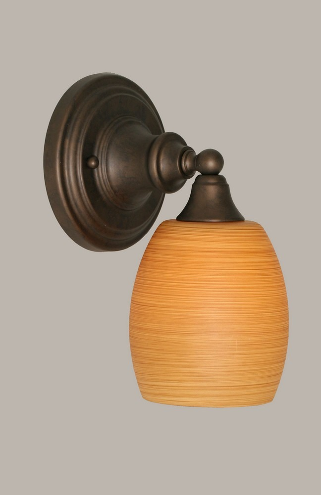 Toltec Lighting-40-BRZ-625-One Light Bronze Wall Sconce  Bronze Finish with Cayenne Linen Glass