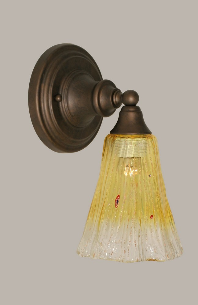 Toltec Lighting-40-BRZ-724-One Light Bronze Wall Sconce  Bronze Finish with Gold Champagne Crystal Glass